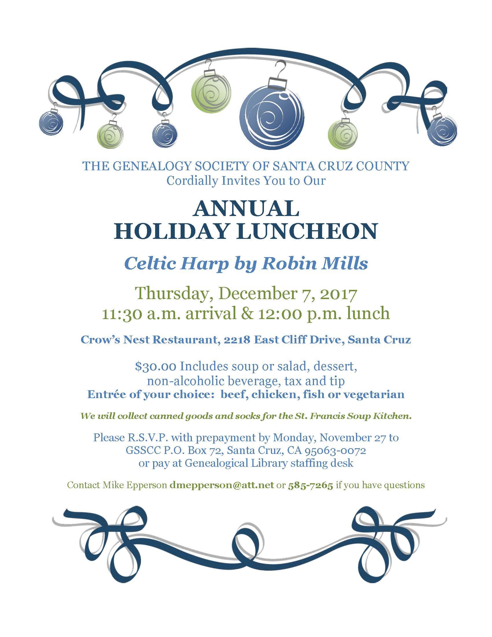 Annual Holiday Luncheon - Genealogical Society of Santa Cruz County