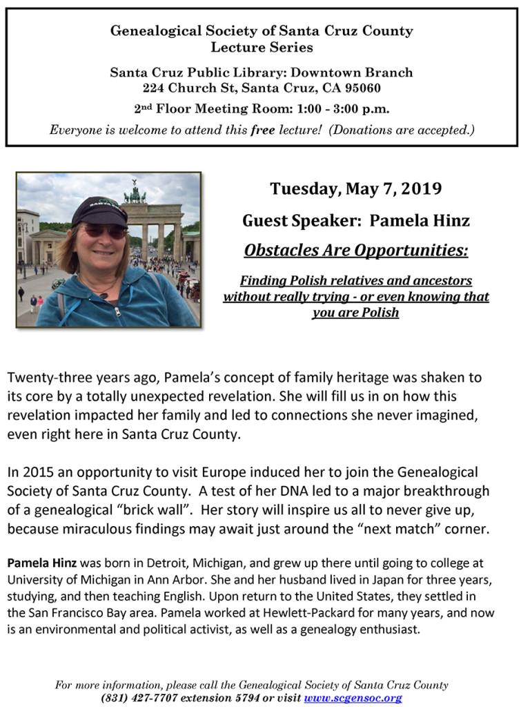 flyer - Polish genealogy - Pam Hinz flyer - May 7, 2019-small